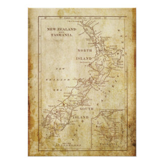 Vintage map of New Zealand c1879 Archival print