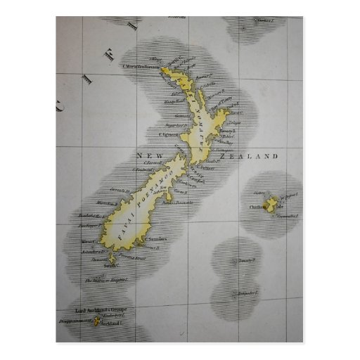 Vintage map of New Zealand Post Card