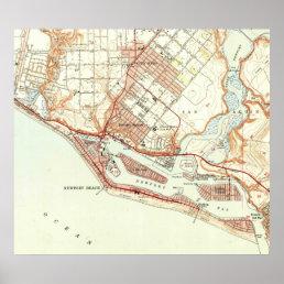 Vintage Map of Newport Beach California (1951) Poster