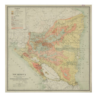 Vintage Map of Nicaragua (1903) Poster