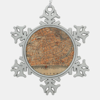 Vintage Map of Nice France (1914) Snowflake Pewter Christmas Ornament