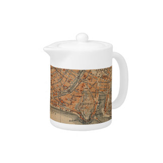 Vintage Map of Nice France (1914) Teapot