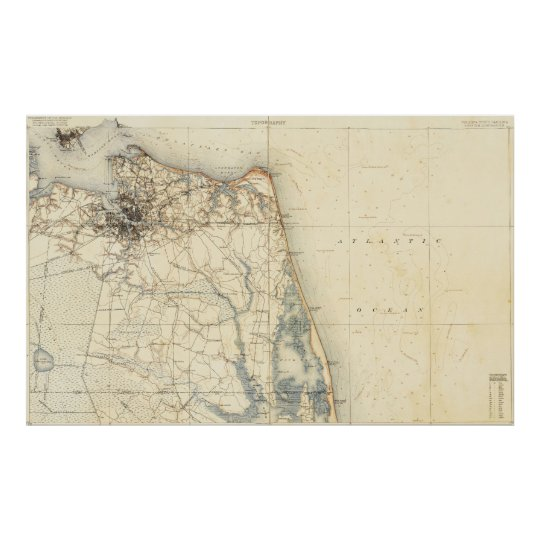 Vintage Map Of Norfolk And Virginia Beach Poster Zazzlecom - Vintage map of virginia