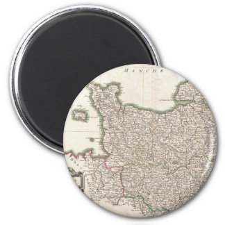 Vintage Map of Normandy (1771) 2 Inch Round Magnet