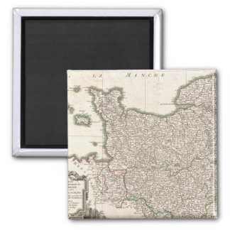 Vintage Map of Normandy (1771) 2 Inch Square Magnet