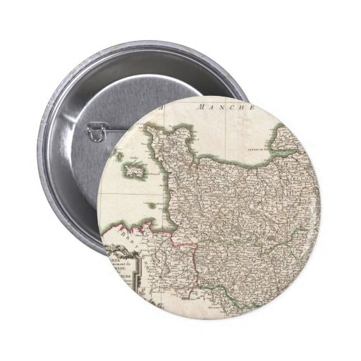 Vintage Map of Normandy (1771) Buttons