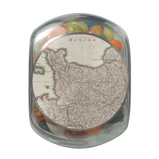 Vintage Map of Normandy (1771) Jelly Belly Candy Jars