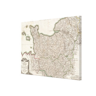 Vintage Map of Normandy (1771) Canvas Print