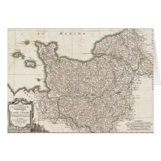 Vintage Map of Normandy (1771) Card