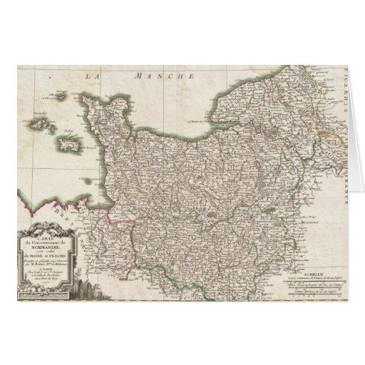 Vintage Map of Normandy (1771) Greeting Cards