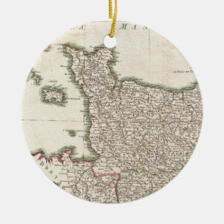 Vintage Map of Normandy (1771) Ceramic Ornament