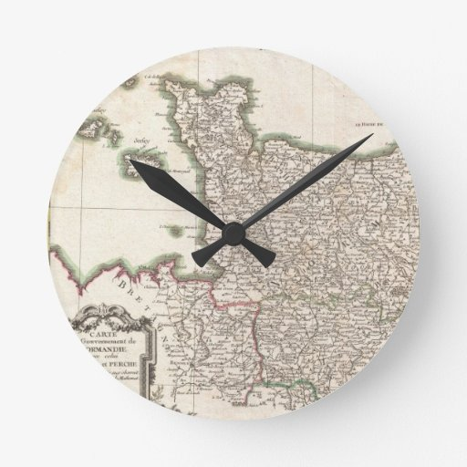 Vintage Map of Normandy (1771) Wall Clock