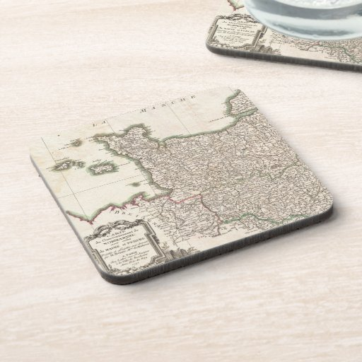 Vintage Map of Normandy (1771) Drink Coasters