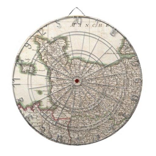 Vintage Map of Normandy (1771) Dart Board