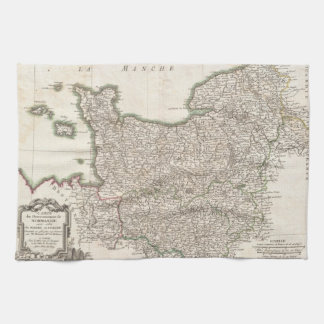 Vintage Map of Normandy (1771) Hand Towel