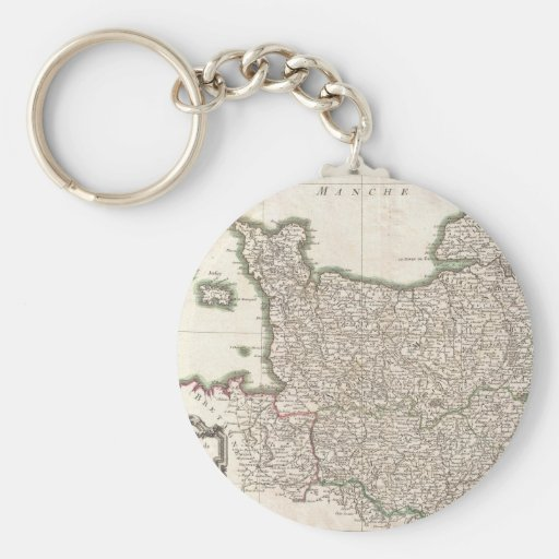 Vintage Map of Normandy (1771) Keychains