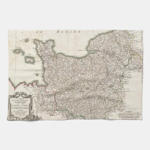 Vintage Map of Normandy (1771) Kitchen Towels