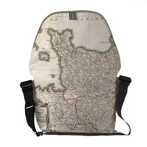 Vintage Map of Normandy (1771) Messenger Bags