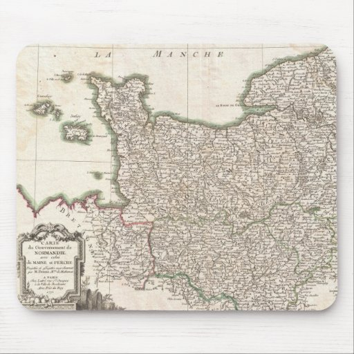Vintage Map of Normandy (1771) Mouse Pad