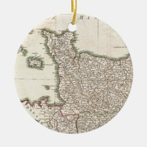 Vintage Map of Normandy (1771) Christmas Tree Ornaments