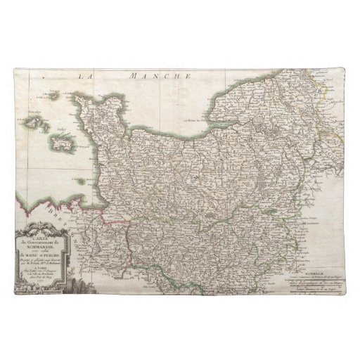 Vintage Map of Normandy (1771) Placemats