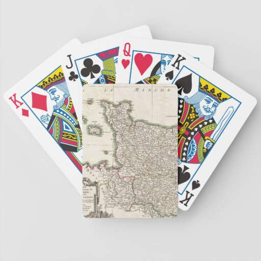 Vintage Map of Normandy (1771) Bicycle Poker Deck
