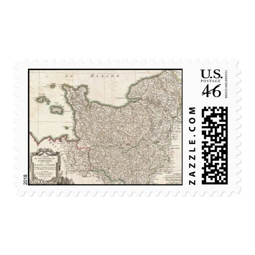 Vintage Map of Normandy (1771) Stamps