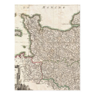 Vintage Map of Normandy (1771) Postcard