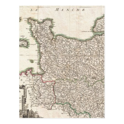 Vintage Map of Normandy (1771) Postcard