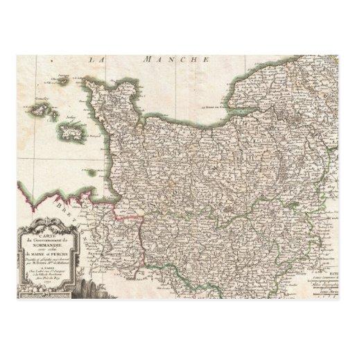 Vintage Map of Normandy (1771) Postcards