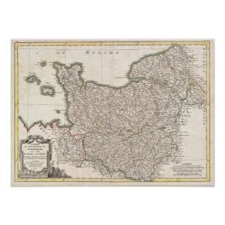 Vintage Map of Normandy (1771) Poster