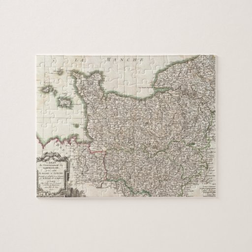 Vintage Map of Normandy (1771) Puzzles