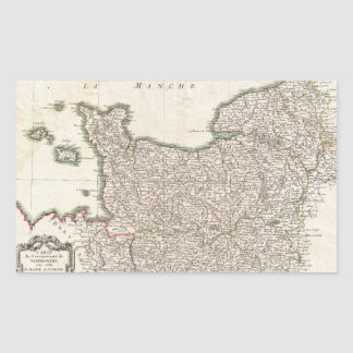 Vintage Map of Normandy (1771) Rectangular Sticker