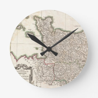 Vintage Map of Normandy (1771) Round Clock