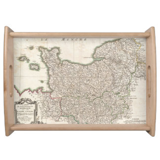 Vintage Map of Normandy (1771) Serving Tray