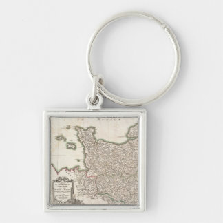 Vintage Map of Normandy (1771) Silver-Colored Square Keychain