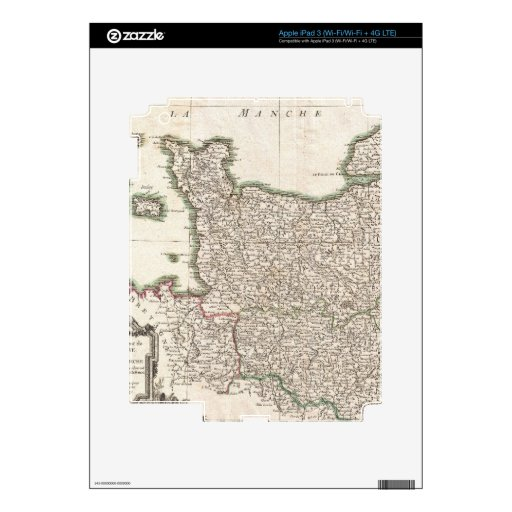 Vintage Map of Normandy (1771) Skin For iPad 3