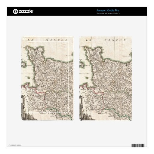 Vintage Map of Normandy (1771) Decals For Kindle Fire