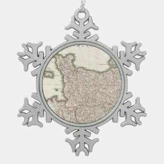 Vintage Map of Normandy (1771) Snowflake Pewter Christmas Ornament
