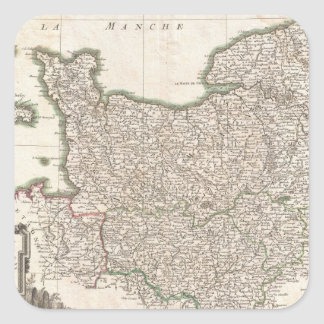 Vintage Map of Normandy (1771) Square Sticker