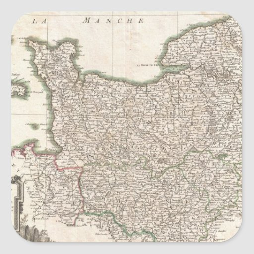 Vintage Map of Normandy (1771) Square Stickers