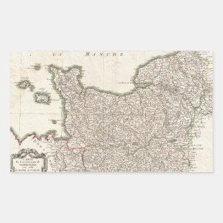 Vintage Map of Normandy (1771) Rectangular Sticker