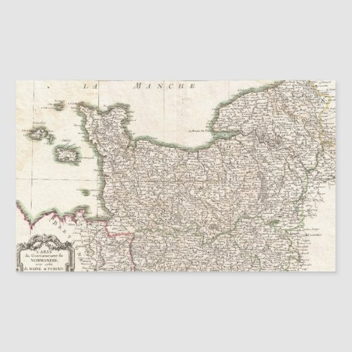Vintage Map of Normandy (1771) Rectangle Sticker