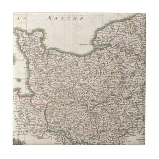 Vintage Map of Normandy (1771) Ceramic Tiles