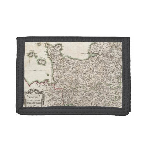 Vintage Map of Normandy (1771) Tri-fold Wallets