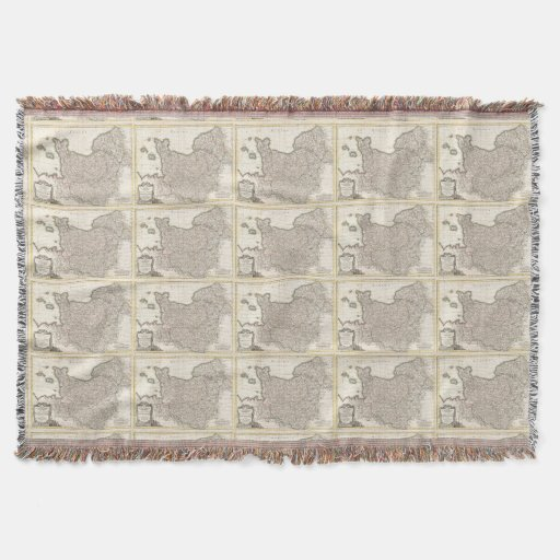 Vintage Map of Normandy (1771) Throw Blanket