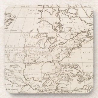 Vintage Map of North America (1719) Beverage Coaster