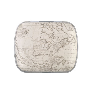 Vintage Map of North America (1719) Candy Tin