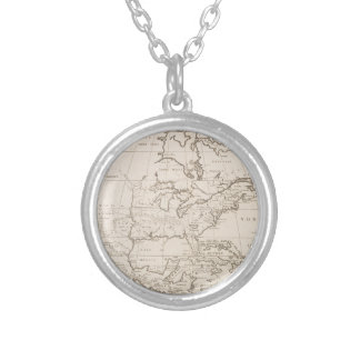 Vintage Map of North America (1719) Silver Plated Necklace
