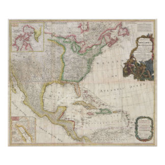Vintage Map of North America (1794) Poster